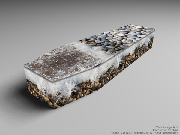 Printed wooden coffin, Pebbles, lilly of the valley, dessert trek