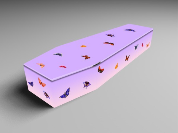 Butterfly, Sheep, Parakeets printed coffins