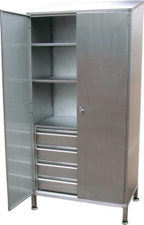 Double Door Storage Cupboard with 4 Internal Drawers