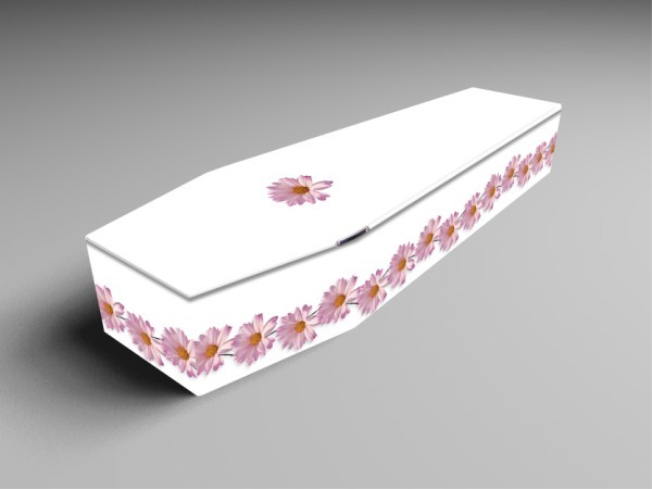 Daisy white, blue, and pink printed coffins