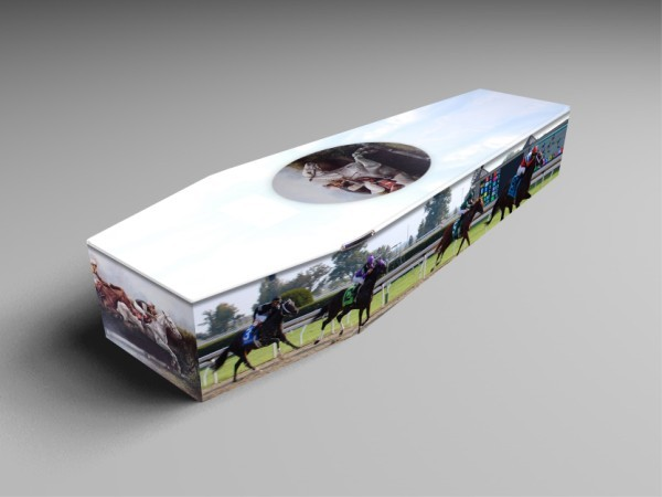 racehorse, football, golf printed coffins