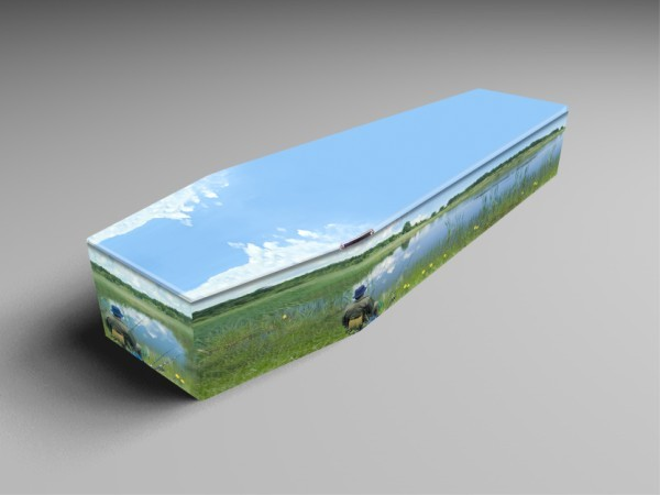 fishing river, fly, sea printed coffins.