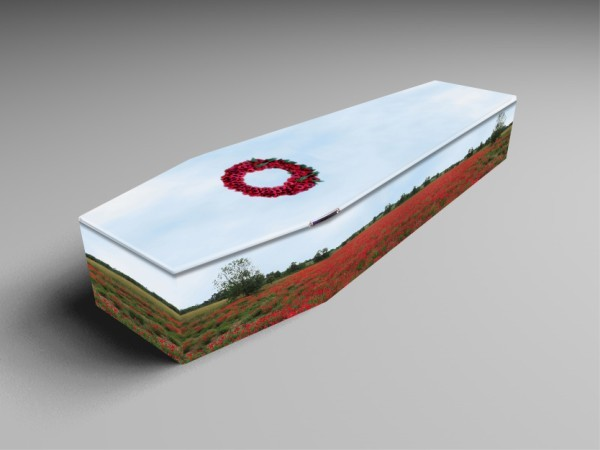 Poppies, light blue, in sky coffins