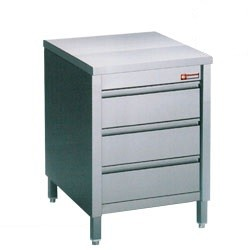 Stainless Steel Mortuary Work Table with 3 drawers